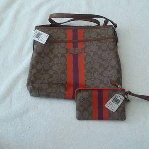 Coach Varsity Stripe Bag with Wristlet combo